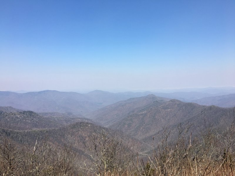 At the top of Sam Knob, enjoy peaceful mountain views on a warm winter day.
