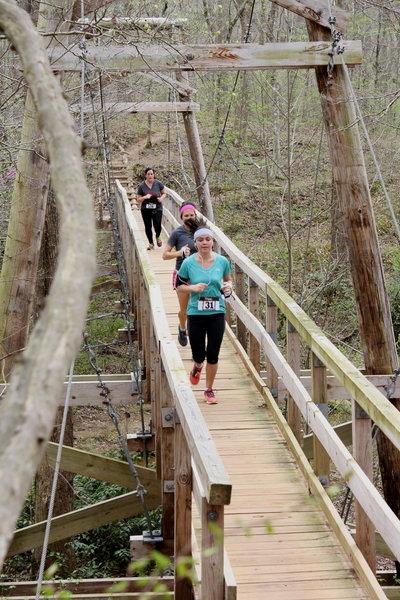 The suspension bridge crossing during the 5K Walk/Run.
