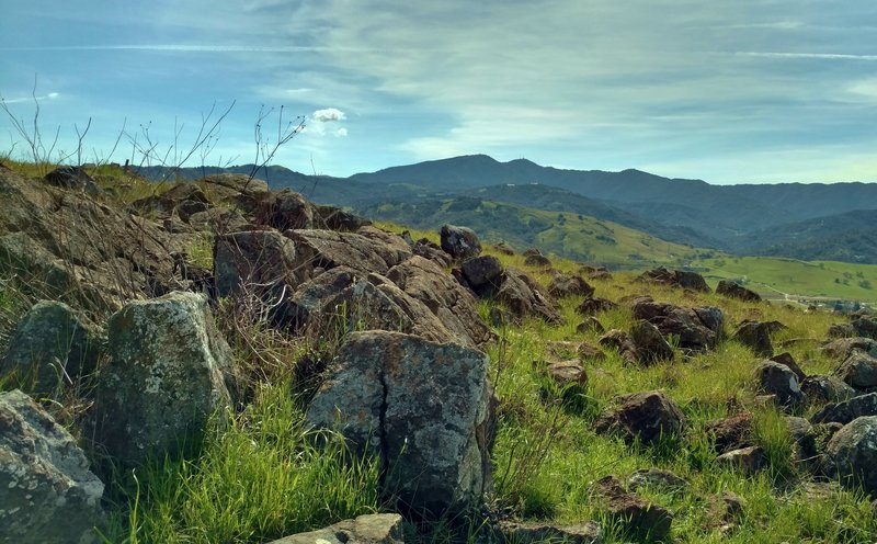 The Santa Cruz Mountains create a beautiful backdrop to the Rocky Ridge Trail. Yep, it sure is rocky!