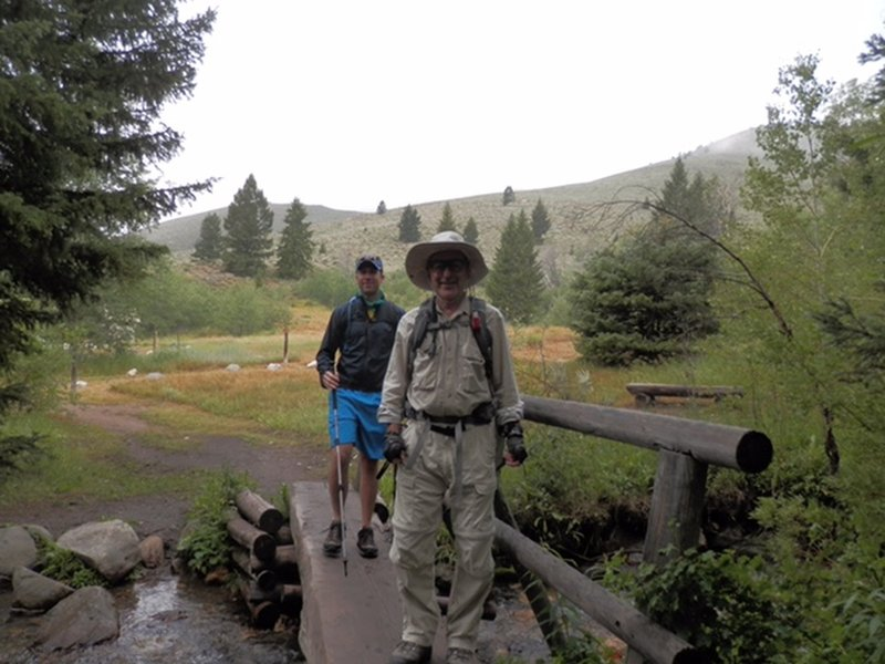 Right after the trailhead, the Pioneer Cabin Trail crosses a sturdy bridge over Corral Creek.