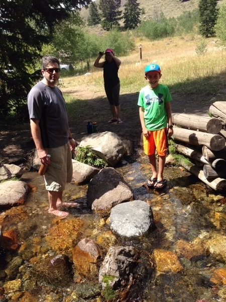 The gang cools off after a long hike on the Pioneer Cabin Trail.