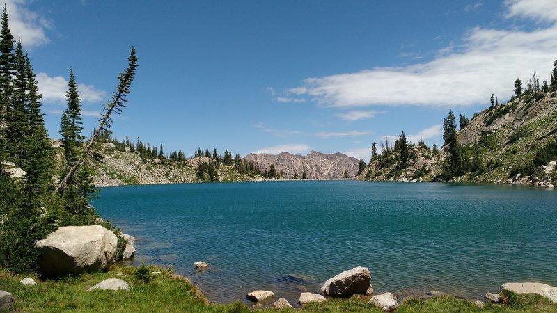 White Pine Lake glistens in the July sun.