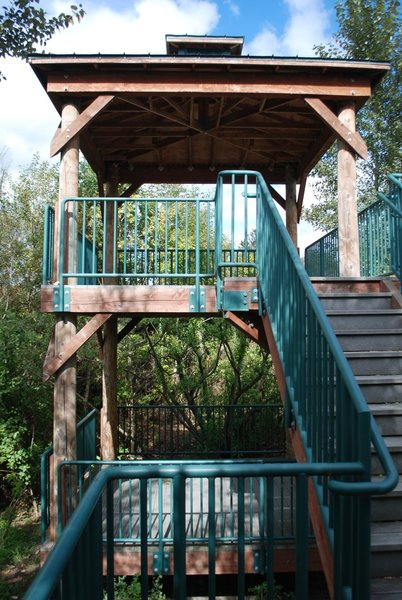 An observation tower offers great views of Auburn Environmental Park's wetlands.