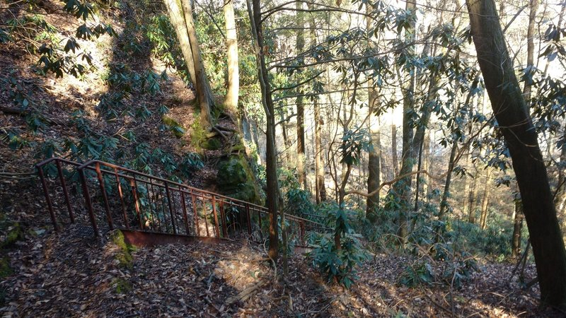 Iron stairs lead to the Sheltowee Trace along the Big South Fork from the Yahoo Falls Overlook Trail.