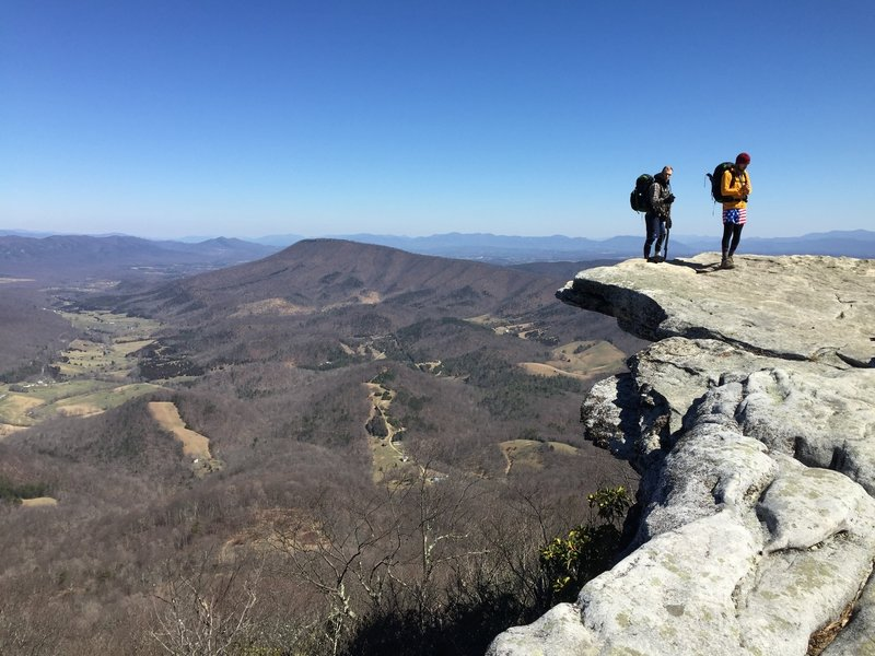 Patriotic Section Hikers stand on McAfee Knob.