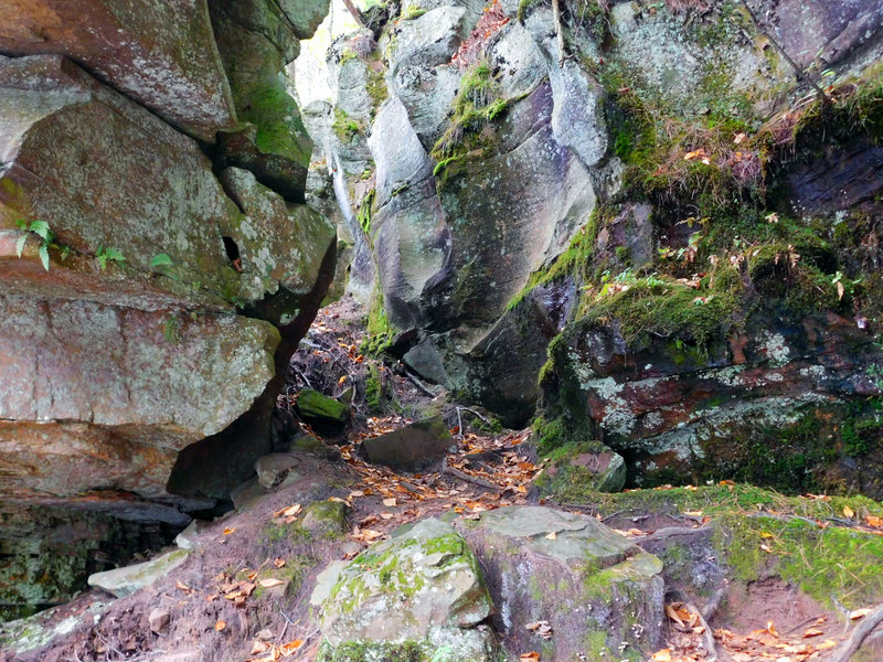 This is an example of the terrain on Hell's Gate Trail. To pass through, you'll travel through this slot, then climb down on the other side.