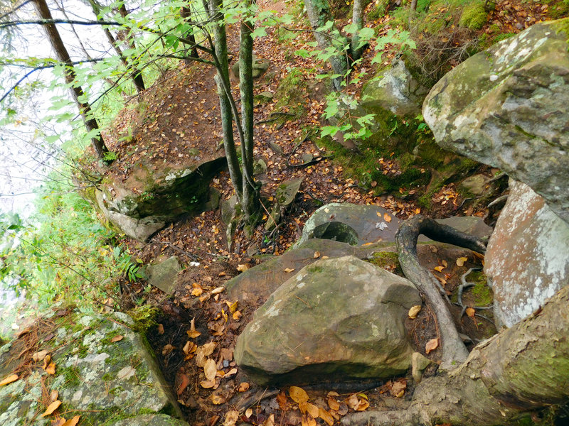 This is another example of the rough terrain on Hell's Gate Trail – you'll need to climb down this.