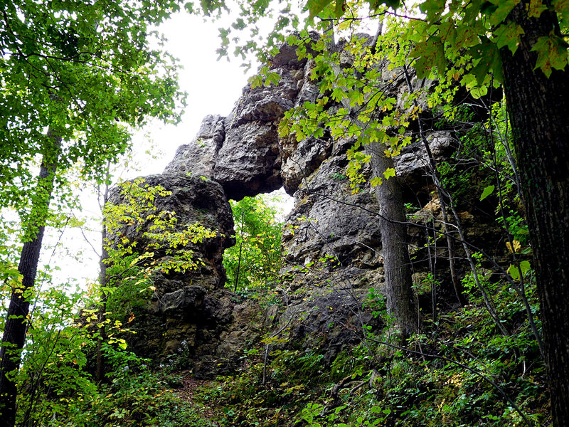 In-Yan-Teopa, a limestone arch, lies hidden atop the bluffs of Lake Pepin.