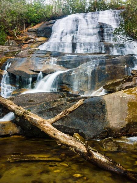 Cove Creek Falls is a worthy attraction. Be very careful when exploring around the waterfall, as the area is slick.