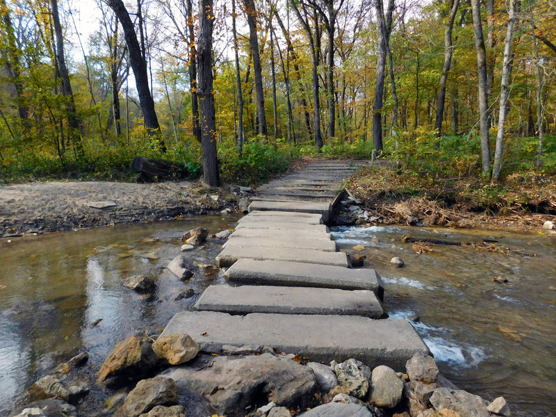 Crossing bars near Hidden Falls provide easy access to the other side of Prairie Creek.
