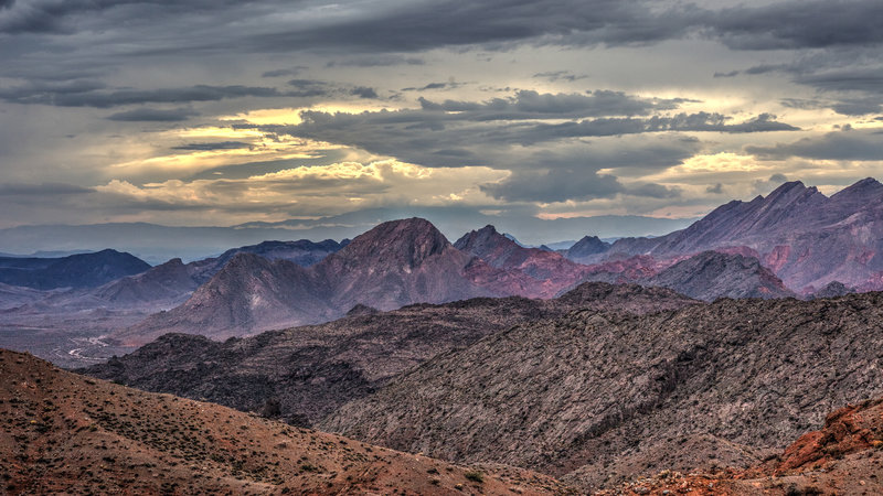 The desert landscape comes aglow in the evening light.