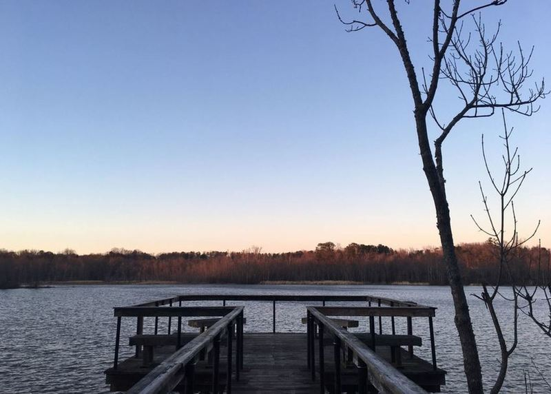 An overlook pier lets you peer out over the waters of the Appomattox.