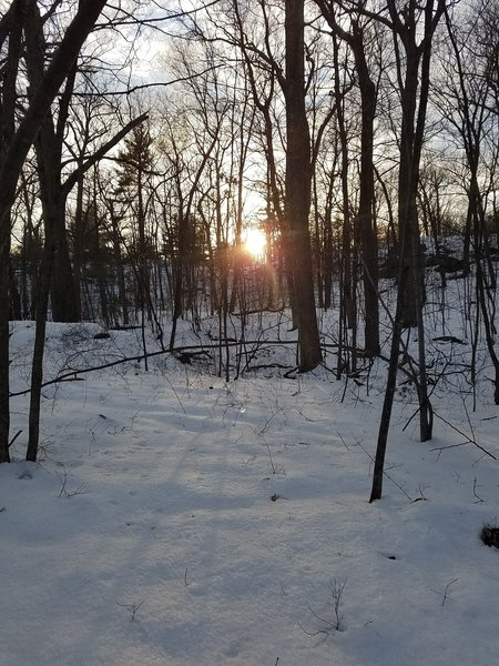 The sun sets over a late-winter landscape along the Skyline Trail.