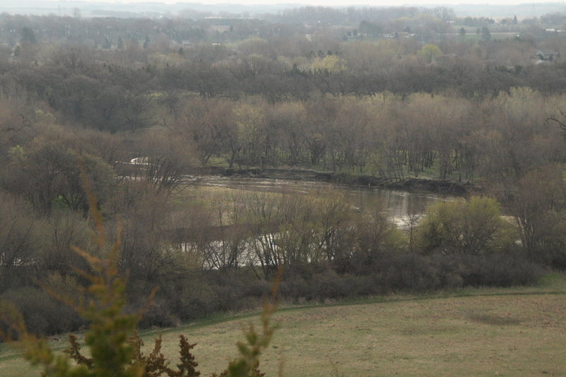 The view from the top of the Prairie Vista Trail looks east toward the river and the town of Brandon, South Dakota.