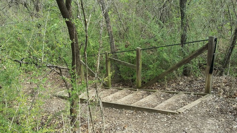 A stairway aids your passage on the Quarry Path.