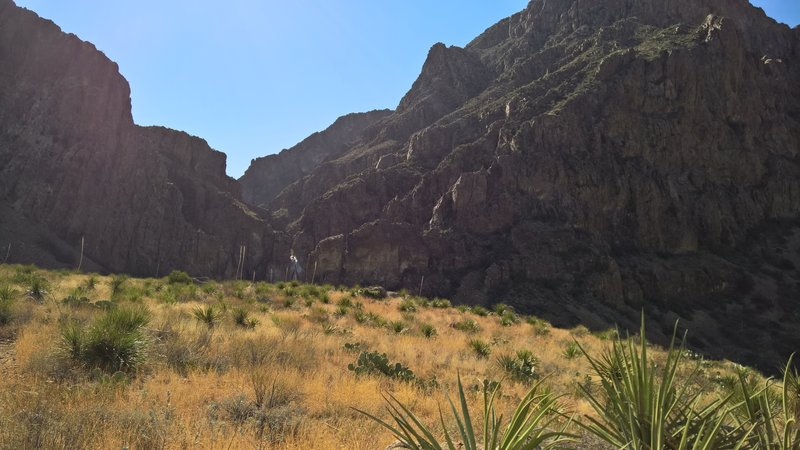 """Before the switchbacks on the Oak Spring Trail, the """"Window"""" can be seen between the two mountains."""