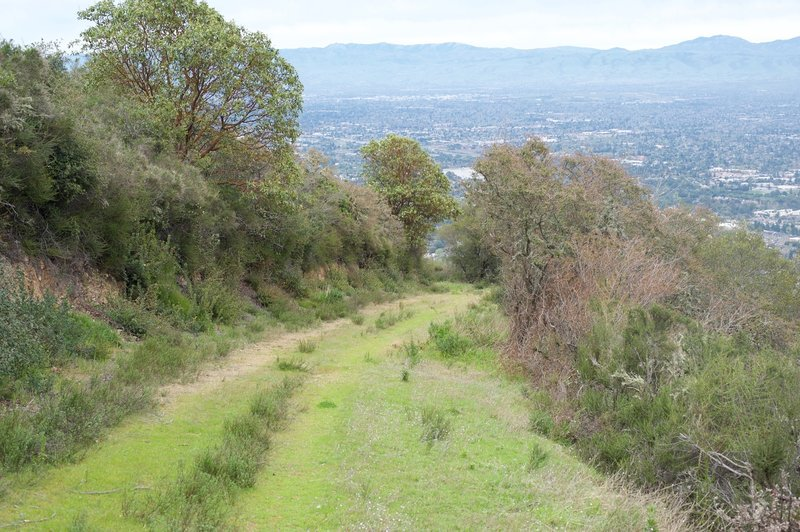 Loma Vista Trail drops from the ridgeline. It's not well maintained and leads to the park boundary, where a large chain-link fence awaits.