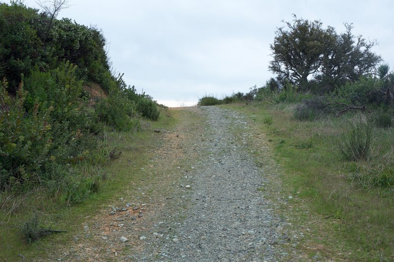 The Serenity Trail turns to gravel briefly before turning back into dirt and descending from the ridge.