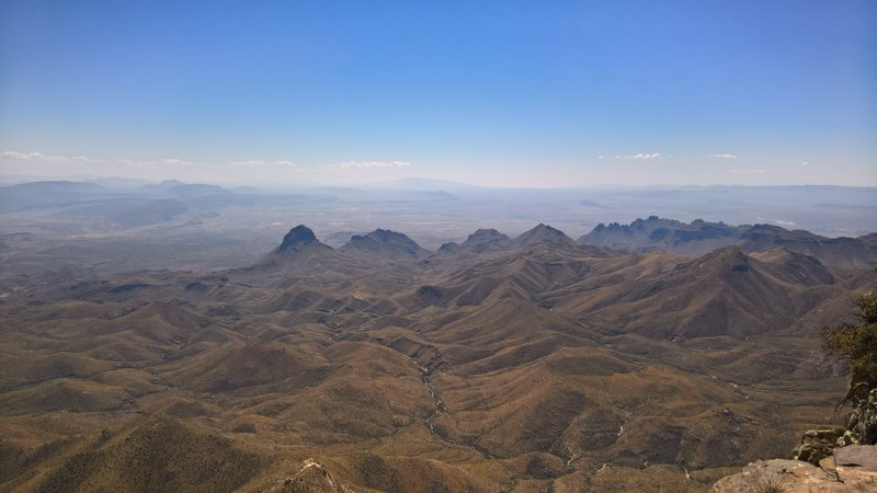 Looking south from the Southwest Rim Trail, Mexico is far in the background, separated from us by the Rio Grande and a few smaller mountains.