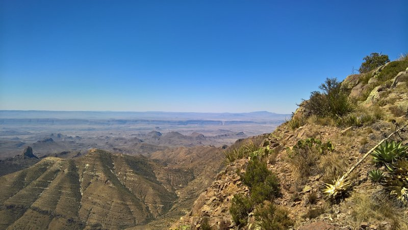 From the Southwest Rim Trail, enjoy this view to the west with Santa Elena Canyon in the background.