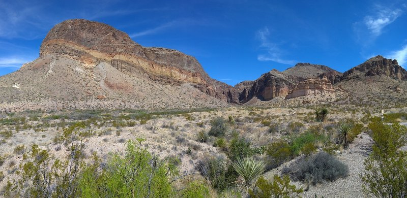 Enjoy a panoramic view of Burro Mesa from the parking area.