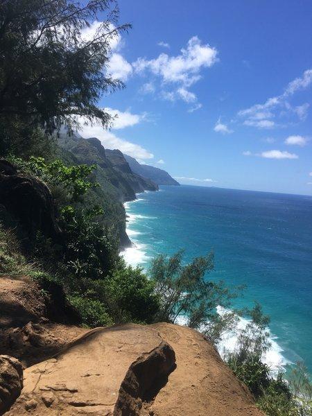 The Kalalau Trail on the Na Pali Coast, Kauai starts off with this incredible view.