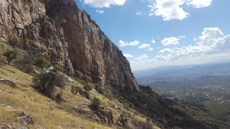 Beautiful red granite cliffs await along the way.