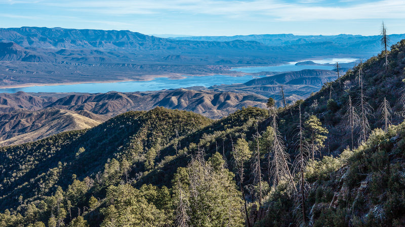 The Four Peaks segment of the AZT offers great views of Theodore Roosevelt Lake.