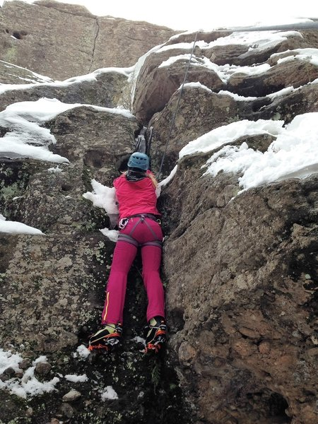 Keep your eyes peeled for climbers on the cliffs above the Climbers Trail. They love to practice mixed climbing when ice forms.