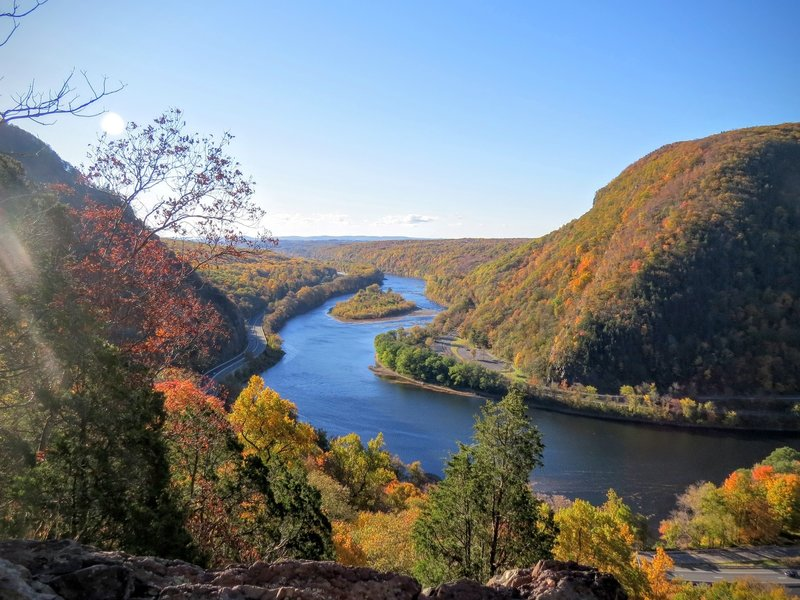 The Delaware Water Gap comes alive in the autumn. Interstate 80 (seen below and on the left side of the Delaware River) puts drivers right in the action.