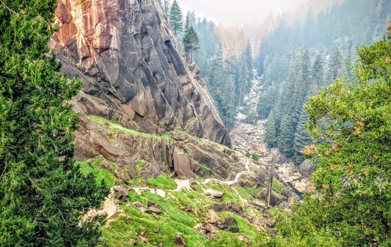 Looking back down the Mist Trail, you can see it ascends this phenomenal valley.