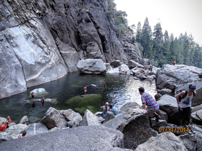 Lower Yosemite Falls Plunge Pool is magical on a hot day in a dry summer.  It was 105 degrees this day with incredibly ice cold water.
