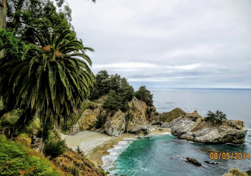 McWay Falls trickles from the hill below the Pacific Coast Highway.
