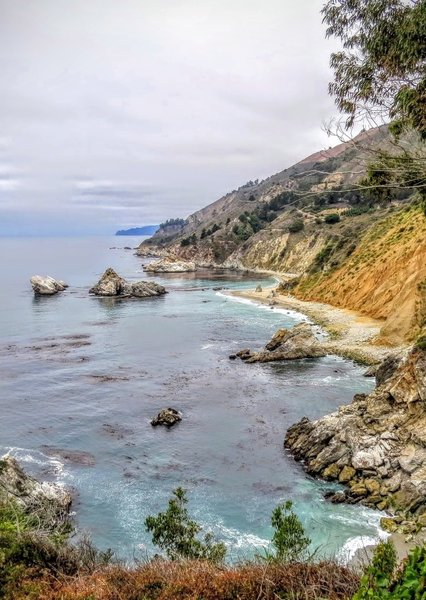 The McWay Falls Viewpoint offers a beautiful look up the California Coast.