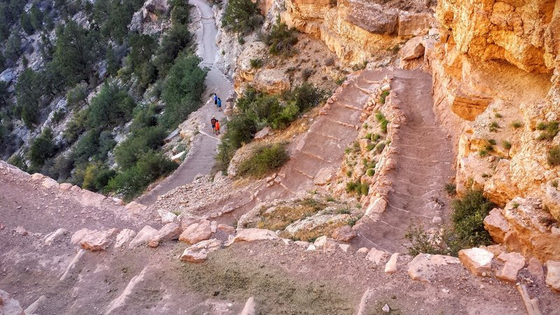 South Kaibab Trail starts with a set of relentless, serpentine switchbacks.