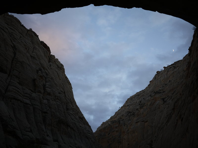 A triangular sky spans above our campsite alcove in Lower Death Hollow.