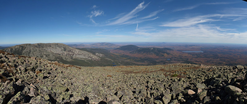 Soak up the phenomenal views looking north from Pamola Peak on Mount Katahdin, Baxter State Park, Maine, USA. If you're hiking the AT from Georgia, this is the last view you'll experience!