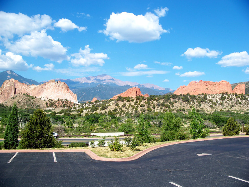 Pikes Peak is nicely framed by the 300 foot rock fins of Garden of the Gods from the Visitor Center.