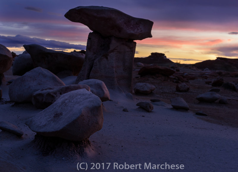 The sun sets over a stout hoodoo along the hike. More than 20 exist in this area for your viewing.