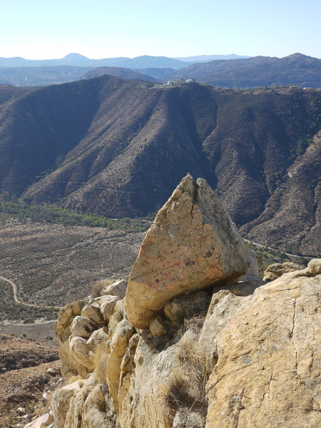 A triangular rock marks the prow of El Cajon Mountain.