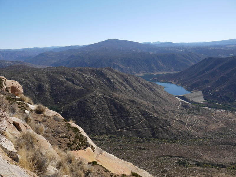El Capitan Reservoir can be seen from the prow of El Cajon Mountain.