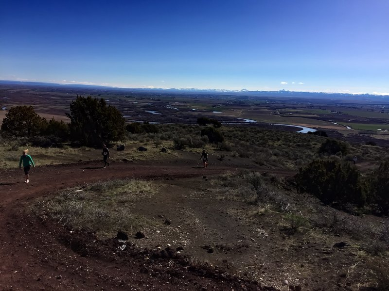 """The road climbs again along the north end of the butte and below the """"R""""."""