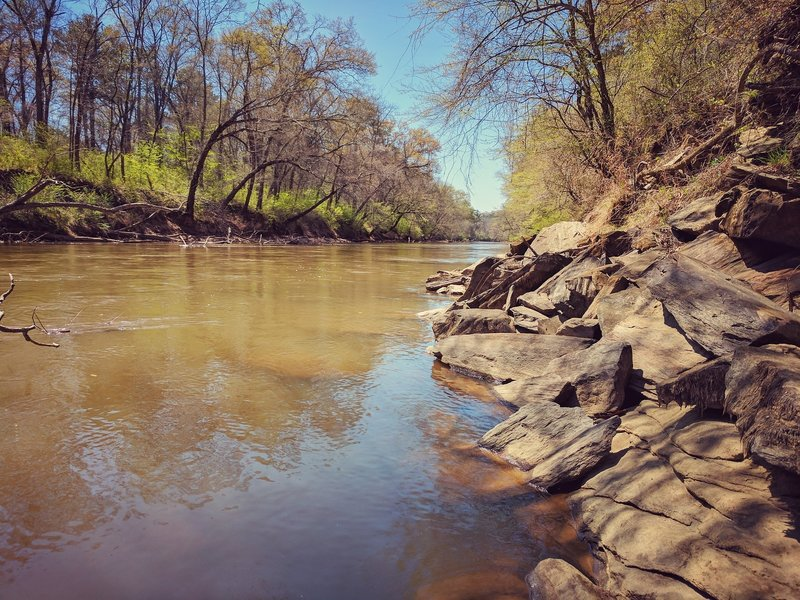 The Etowah River meanders gently alongside the White Trail.