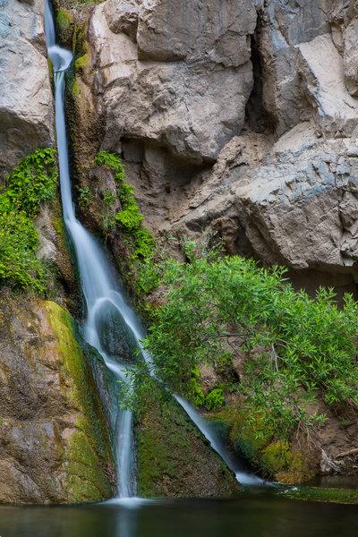 Darwin Falls cascades peacefully down the rocks into a pool below.