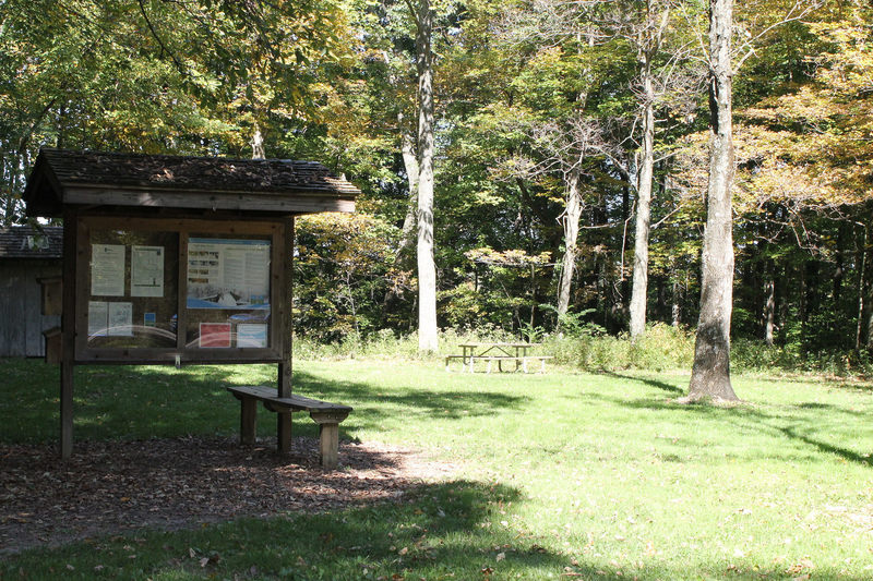 Trail Intersection #16 is bolstered by an informative kiosk, plenty of shade, and a picnic area.