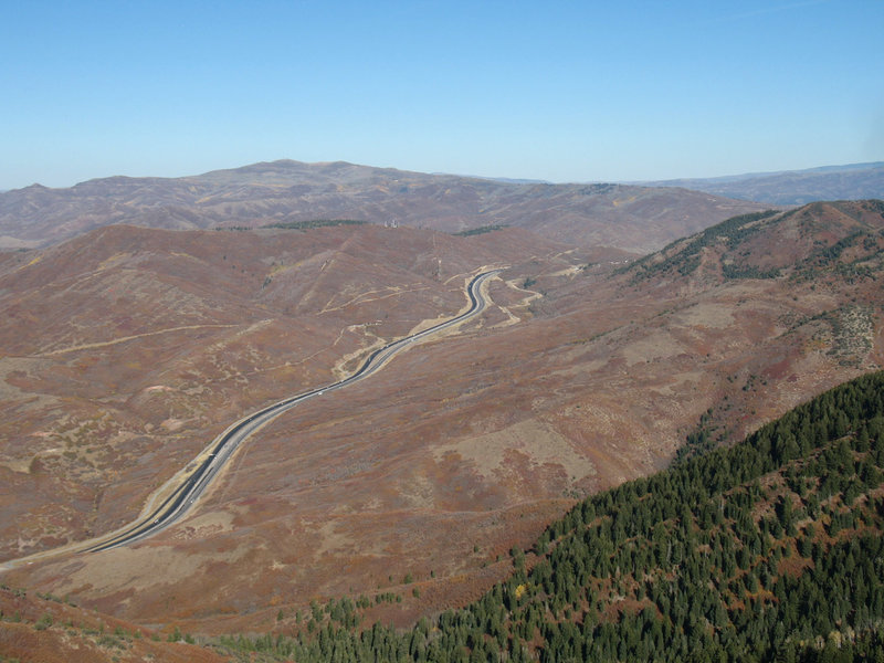 You'll get a stark view of Parley's Canyon and I-80 from Mount Aire.