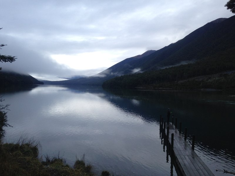Lake Rotoiti is gorgeous covered in low clouds.