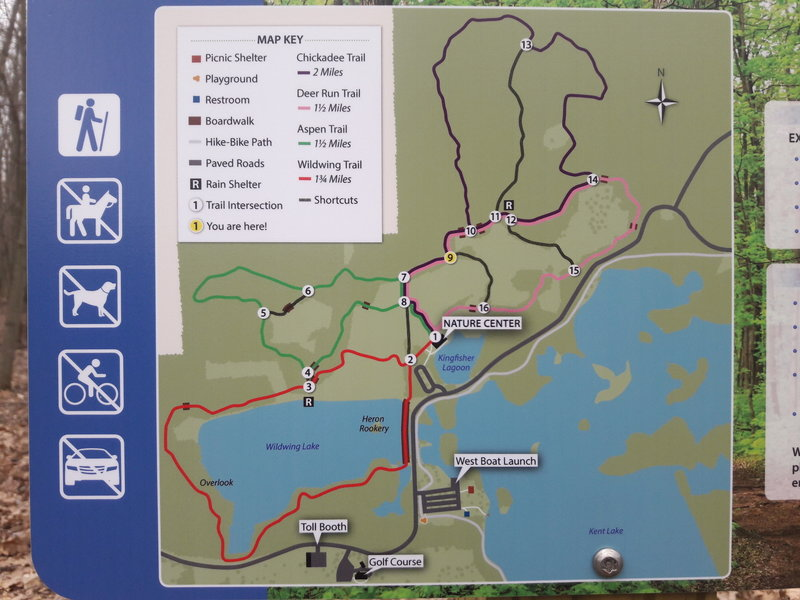 This is the map of the nature trails in the Kensington Metropark nature area that's posted at the trailhead.