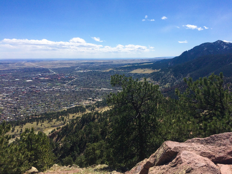 The top of Mount Sanitas looks out at the beauty of Boulder and the Flatirons.