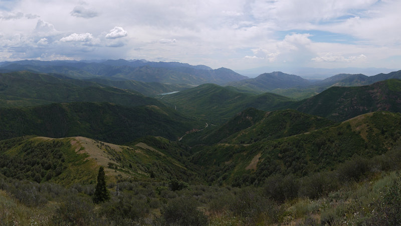 Experience a 90 degree panorama of Mountain Dell Canyon and Little Dell Reservoir looking southwest from the Great Western Trail.